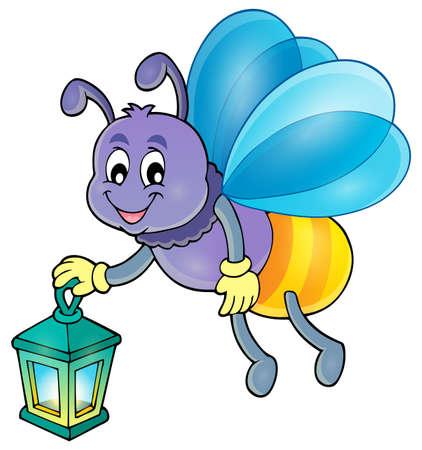 Firefly avec le vecteur de la lanterne illustration. Banque d'images - 56660590