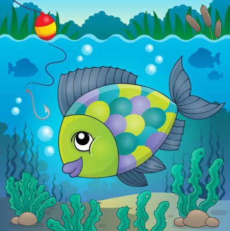 habitats: Freshwater fish  vector illustration.