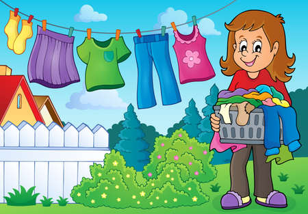 drying: Woman with laundry outdoor  vector illustration.