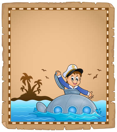 metal parts: Parchment with sailor on submarine  vector illustration. Illustration