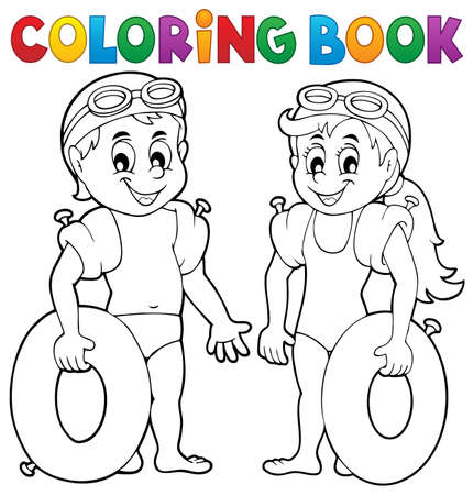 swimmer's: Coloring book boy and girl swimmers vector illustration.