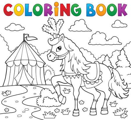 Libro Para Colorear Caballo Cerca De Circo Tema 2 - Eps10 ...