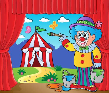 performance art: Clown painting image of circus on stage  vector illustration.