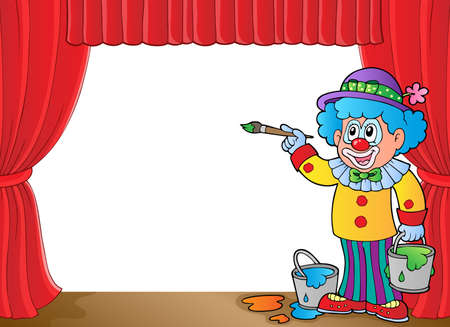 stage costume: Clown with paints on stage  vector illustration. Illustration