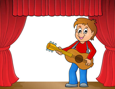 guitar player: Boy guitar player on stage  vector illustration.