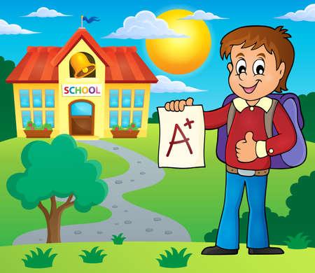 grade: School boy with A plus grade vector illustration.