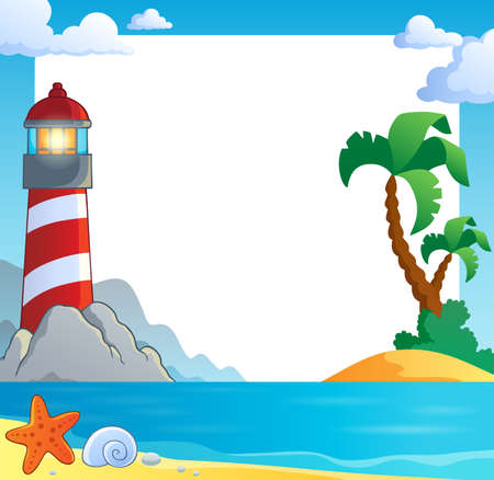 Frame with sea coast and lighthouse vector illustration. Illustration