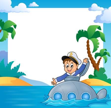 coastal: Frame with sailor on submarine  vector illustration. Illustration