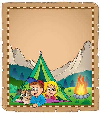 campsite: Camping theme parchment  vector illustration.