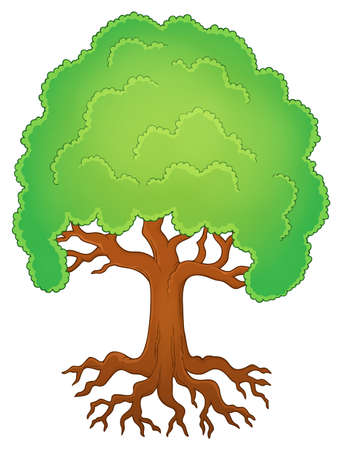 root: Tree with roots theme vector illustration. Illustration