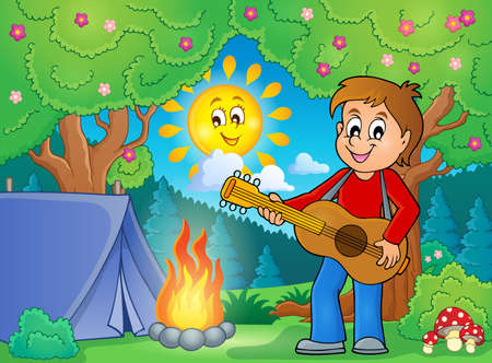 talented: Boy guitar player in campsite vector illustration.