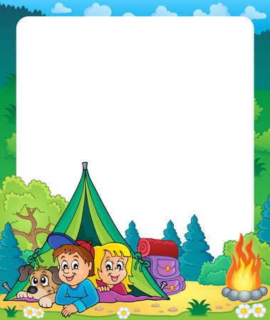 campsite: Camping theme frame   vector illustration.