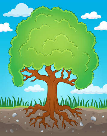 treetop: Tree with roots   vector illustration.