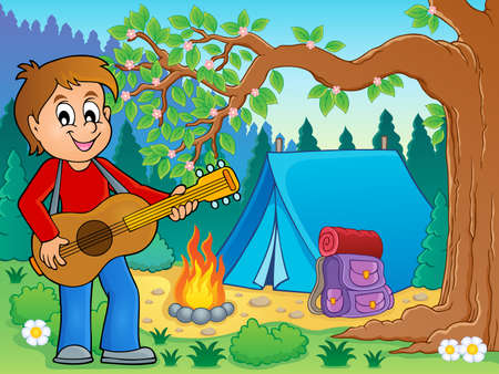 campsite: Boy guitar player in campsite   vector illustration.
