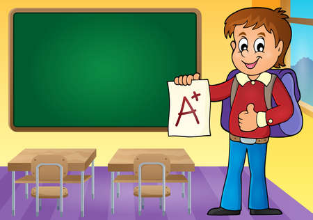 young schoolchild: School boy with A plus grade  vector illustration.