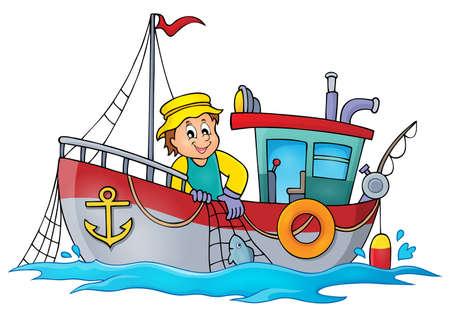tema de barco de pesca Ilustración de vector