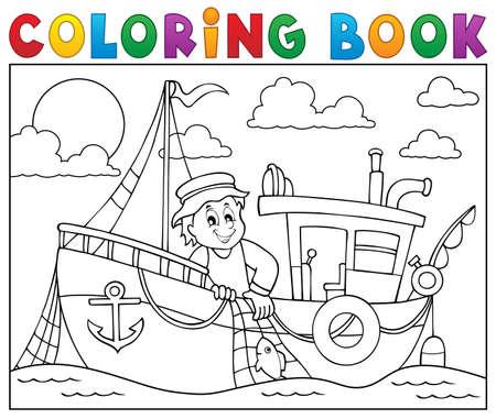 Libro Para Colorear Pesca Pingüino - Ilustración Vectorial ...