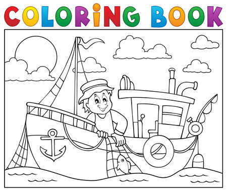 Coloring book with fishing boat