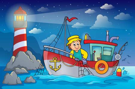 barca da pesca: tema Peschereccio Vettoriali