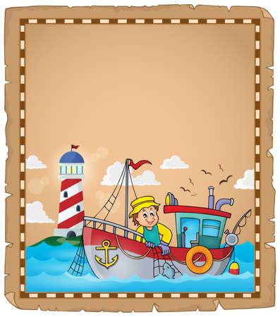 bateau de pêche: Parchment avec un bateau de pêche