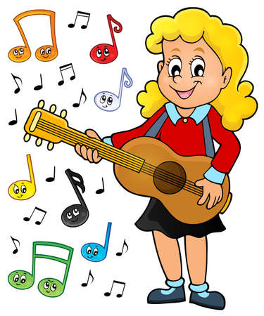 zeichnen: Mädchen-Gitarrist Illustration