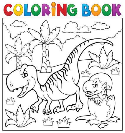색칠 공부 책 공룡 테마 일러스트