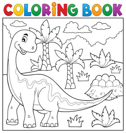 prehistorical: Coloring book dinosaur topic Illustration