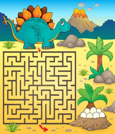 prehistory: Maze 3 with dinosaur theme Illustration