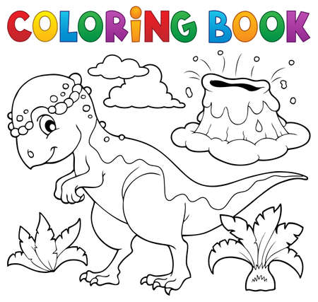 pachycephalosaurus coloring book dinosaur topic illustration