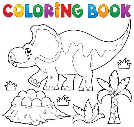 topic: Coloring book dinosaur topic Illustration