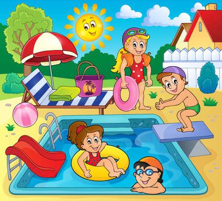 pool: Children by pool theme