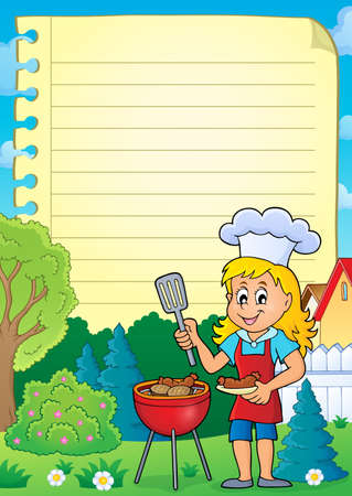 lined: Lined paper with barbeque theme