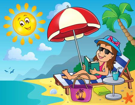 sunglasses recreation: Girl on sunlounger
