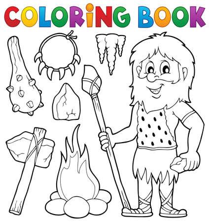 hombre prehistorico: libro para colorear temáticas prehistóricos