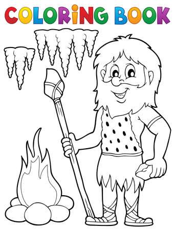 hombre prehistorico: hombre de las cavernas tema de libro para colorear