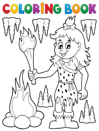 prehistorical: Coloring book cave woman theme Illustration