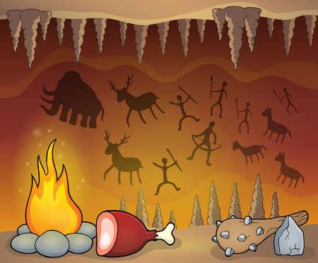 cave painting: temática cueva prehistórica Vectores
