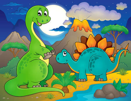 prehistorical: Night landscape with dinosaur Illustration