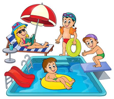 enfant maillot de bain: Enfants par thème de la piscine Illustration