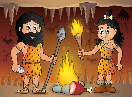 prehistoric man: Cave people theme Illustration