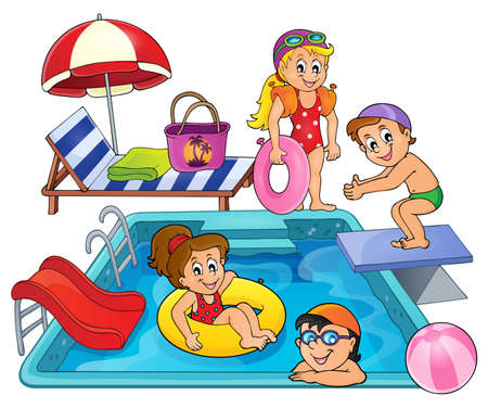 water chute: Children by pool theme