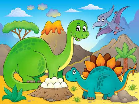 prehistorical: Image with dinosaur thematics Illustration
