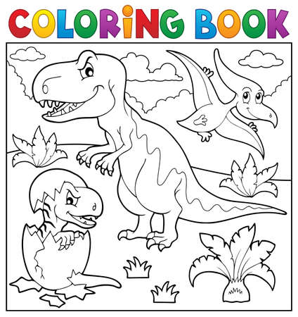 tyrannosaur: Coloring book dinosaur topic Illustration