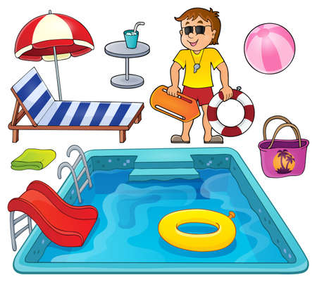 water chute: Pool thematic set 1 - vector illustration.
