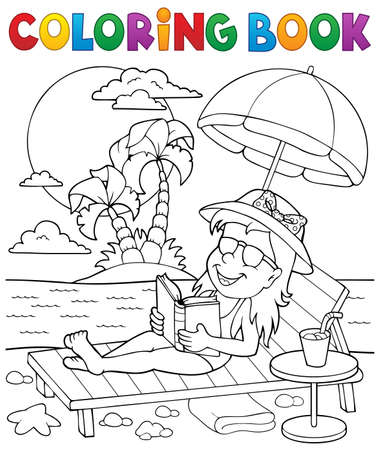 palm reading: Coloring book girl on sunlounger theme 2 - vector illustration. Illustration