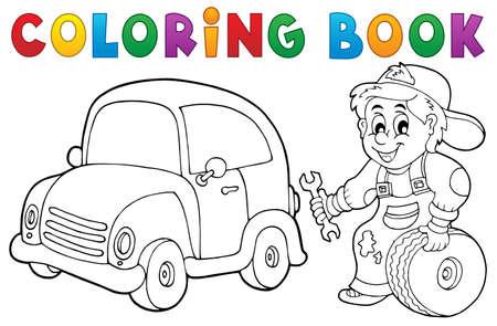 Kleurboek automonteur thema 1 - vector afbeelding.