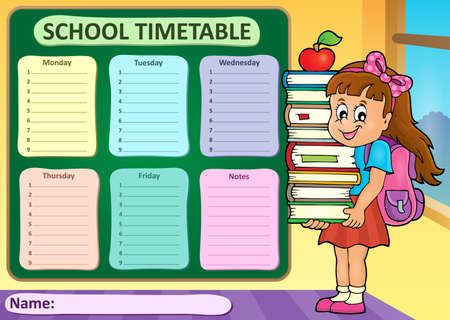 classes schedule: Weekly school timetable theme 4 - vector illustration. Illustration