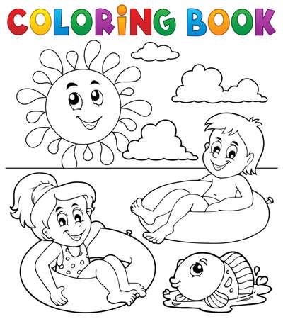 children book: Coloring book children in swim rings 1 - vector illustration.
