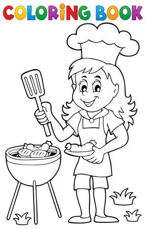 grilling: Coloring book barbeque theme 2 - vector illustration. Illustration