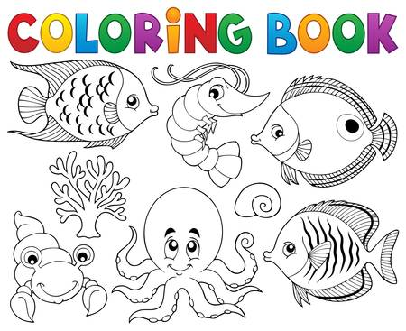 Coloring book marine life theme 2 - vector illustration. 向量圖像